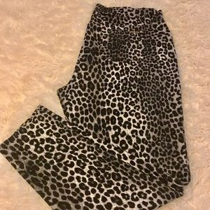 Michael Kors Leopard Stretch Twill Knit Leggings